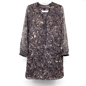 Ann Taylor Brown Feather Long Sleeve Shirt Dress